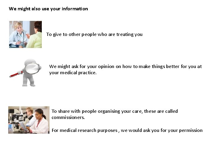 We might also use your information To give to other people who are treating