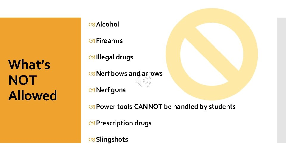 Alcohol Firearms What's NOT Allowed Illegal drugs Nerf bows and arrows Nerf guns