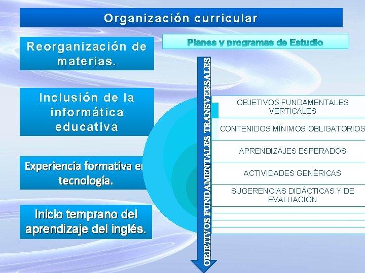 Reorganización de materias. Inclusión de la informática educativa Experiencia formativa en tecnología. Inicio temprano