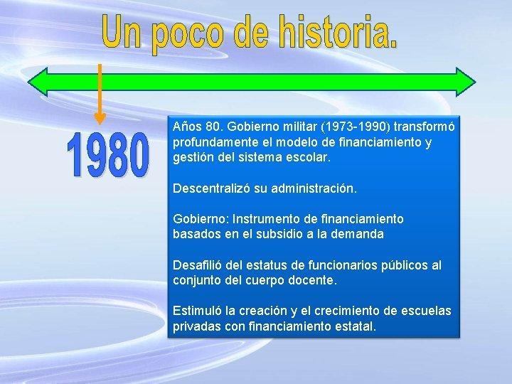 Años 80. Gobierno militar (1973 -1990) transformó profundamente el modelo de financiamiento y gestión