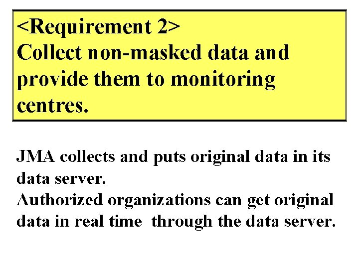 <Requirement 2> Collect non-masked data and provide them to monitoring centres. JMA collects and