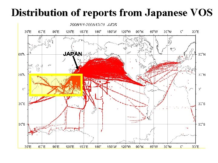 Distribution of reports from Japanese VOS JAPAN