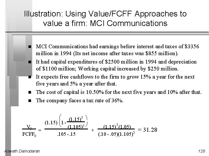Illustration: Using Value/FCFF Approaches to value a firm: MCI Communications had earnings before interest
