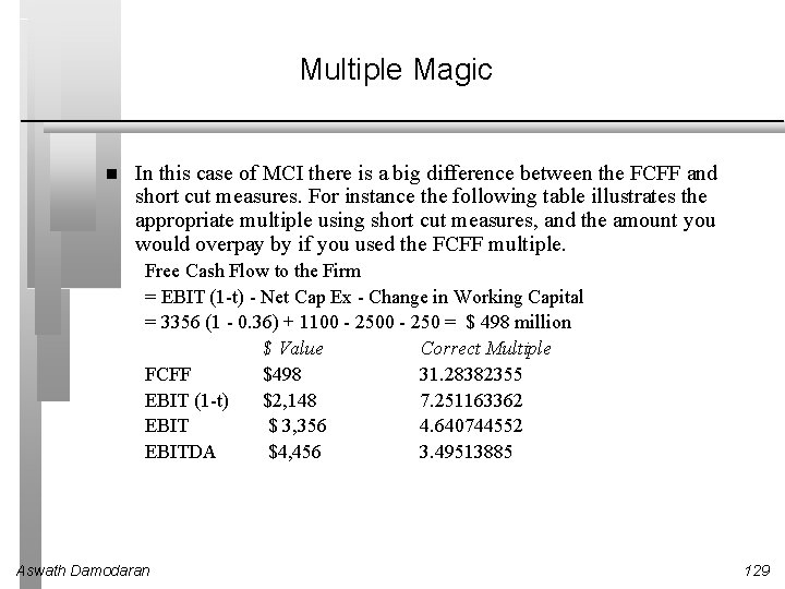 Multiple Magic In this case of MCI there is a big difference between the
