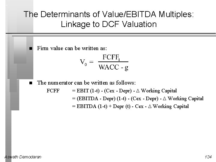 The Determinants of Value/EBITDA Multiples: Linkage to DCF Valuation Firm value can be written