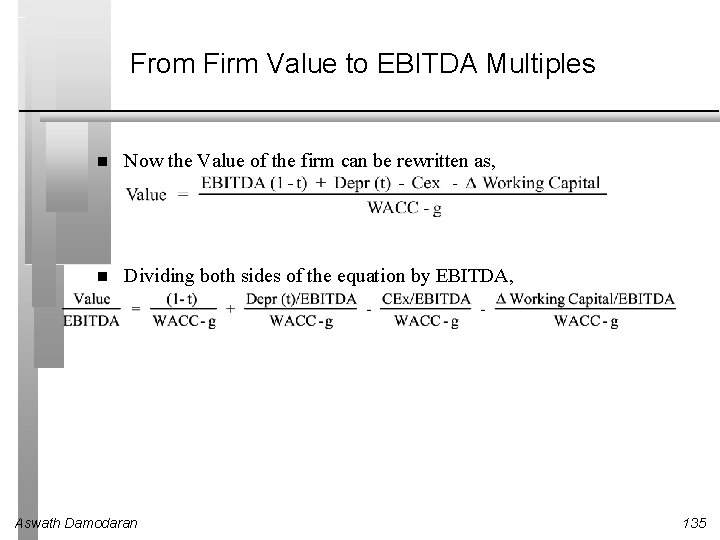 From Firm Value to EBITDA Multiples Now the Value of the firm can be