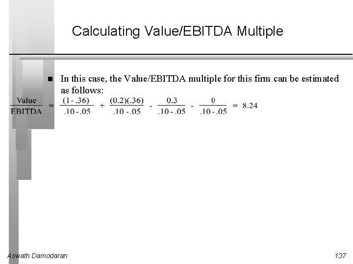 Calculating Value/EBITDA Multiple In this case, the Value/EBITDA multiple for this firm can be