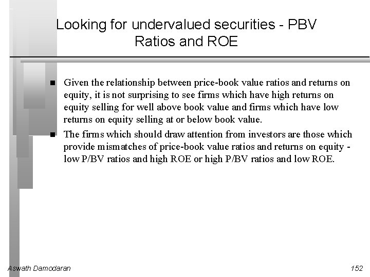 Looking for undervalued securities - PBV Ratios and ROE Given the relationship between price-book