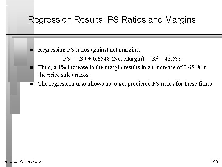 Regression Results: PS Ratios and Margins Regressing PS ratios against net margins, PS =