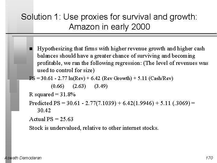Solution 1: Use proxies for survival and growth: Amazon in early 2000 Hypothesizing that