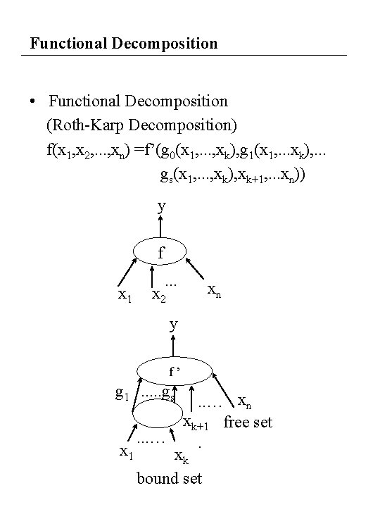 Functional Decomposition • Functional Decomposition (Roth-Karp Decomposition) f(x 1, x 2, . . .