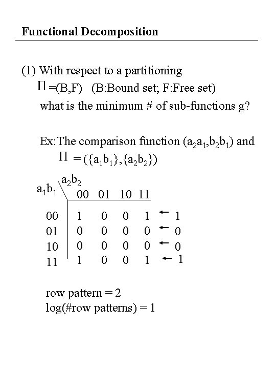 Functional Decomposition (1) With respect to a partitioning =(B, F) (B: Bound set; F: