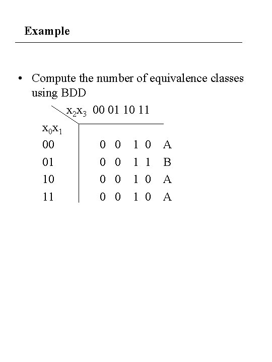 Example • Compute the number of equivalence classes using BDD x 2 x 3