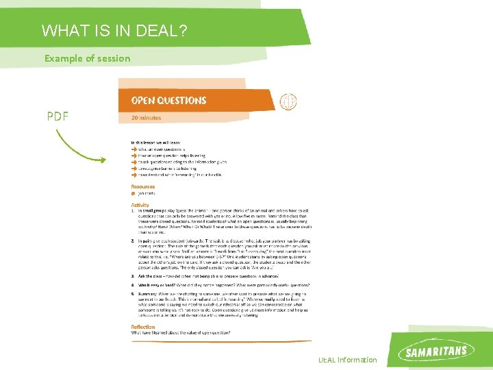WHAT IS IN DEAL? Example of session PDF DEAL Information
