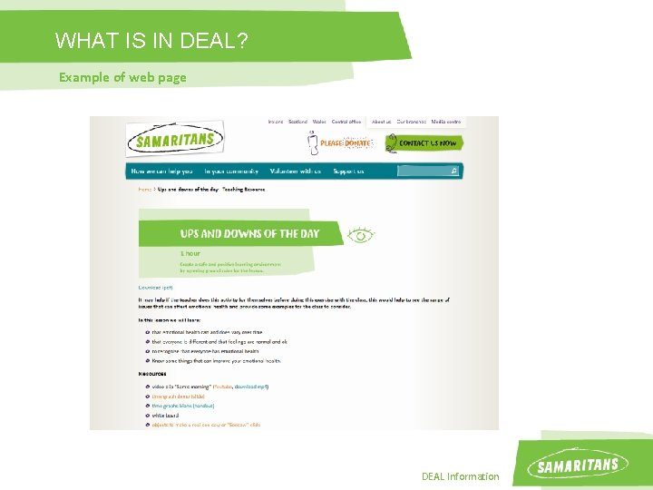 WHAT IS IN DEAL? Example of web page DEAL Information