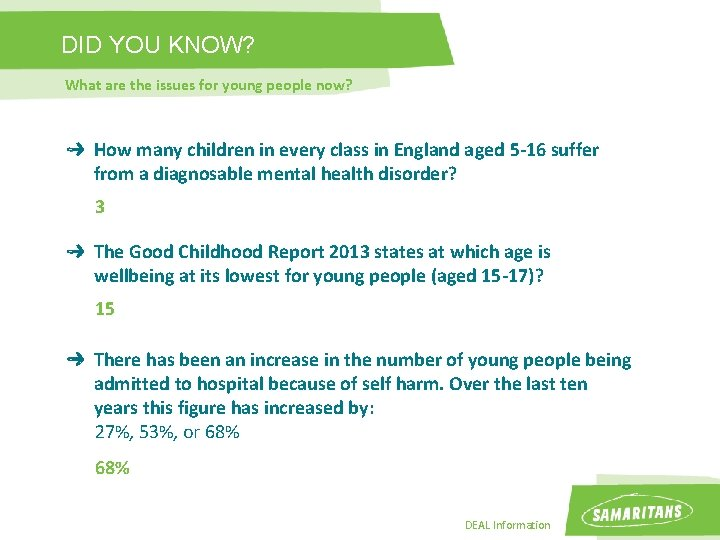 DID YOU KNOW? What are the issues for young people now? How many children