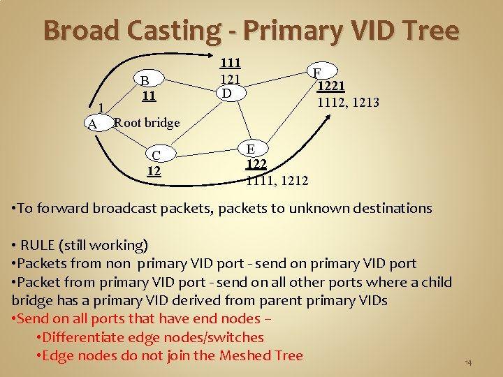 Broad Casting - Primary VID Tree B 11 1 A Root bridge C 12