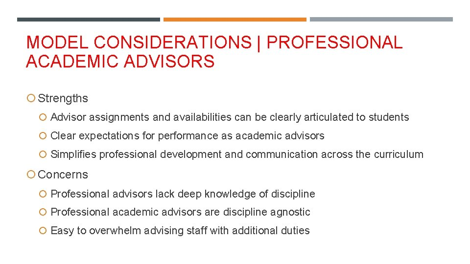 MODEL CONSIDERATIONS   PROFESSIONAL ACADEMIC ADVISORS Strengths Advisor assignments and availabilities can be clearly