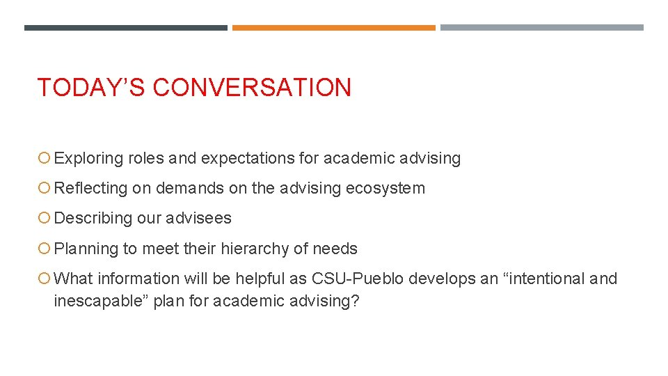TODAY'S CONVERSATION Exploring roles and expectations for academic advising Reflecting on demands on the