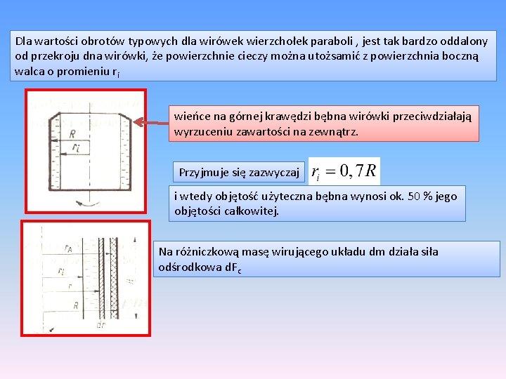 Dla wartości obrotów typowych dla wirówek wierzchołek paraboli , jest tak bardzo oddalony od