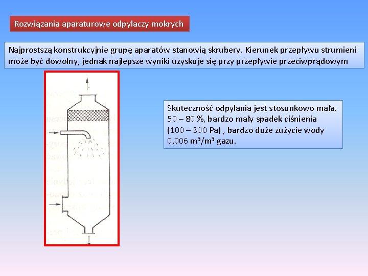 Rozwiązania aparaturowe odpylaczy mokrych Najprostszą konstrukcyjnie grupę aparatów stanowią skrubery. Kierunek przepływu strumieni może