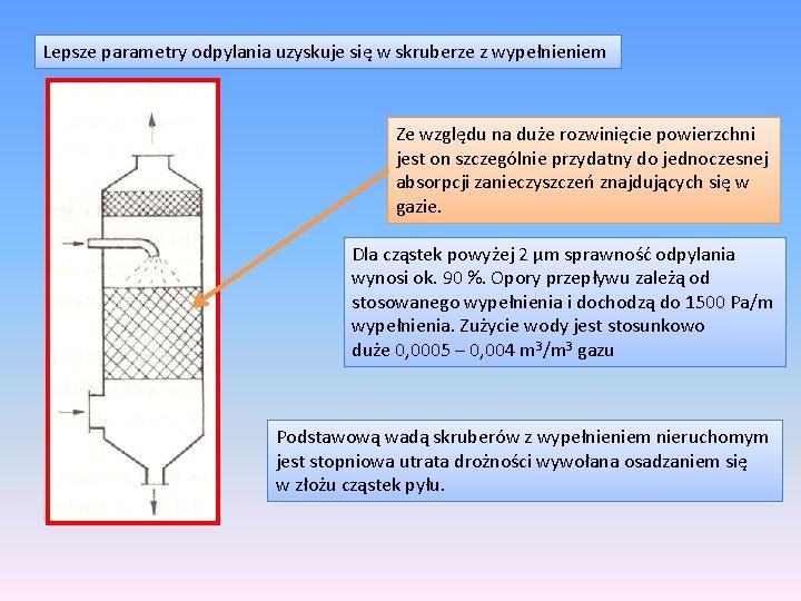 Lepsze parametry odpylania uzyskuje się w skruberze z wypełnieniem Ze względu na duże rozwinięcie