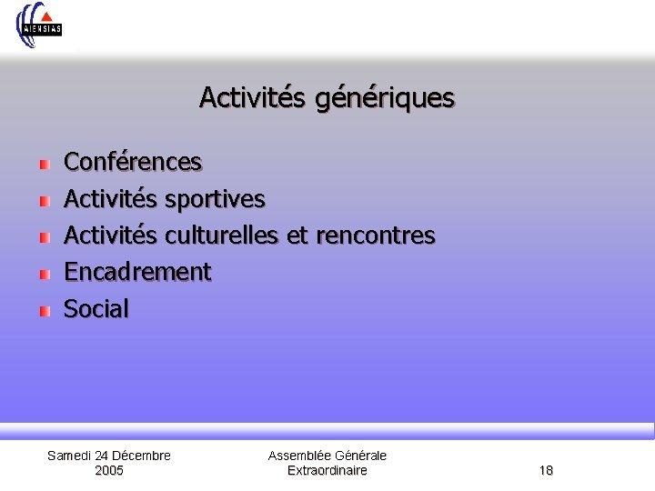 Activités génériques Conférences Activités sportives Activités culturelles et rencontres Encadrement Social Samedi 24 Décembre