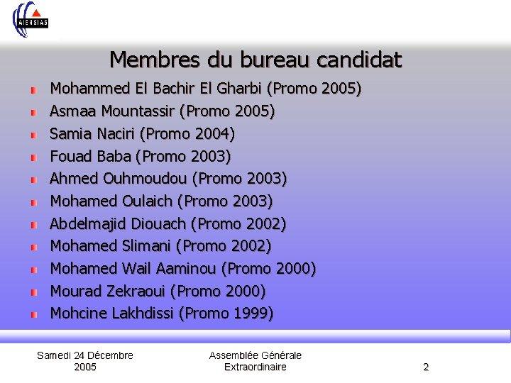 Membres du bureau candidat Mohammed El Bachir El Gharbi (Promo 2005) Asmaa Mountassir (Promo