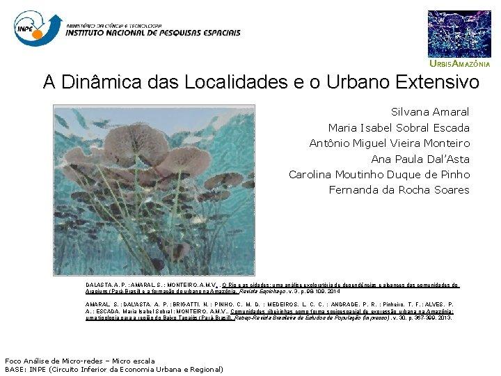 URBISAMAZÔNIA A Dinâmica das Localidades e o Urbano Extensivo Silvana Amaral Maria Isabel Sobral