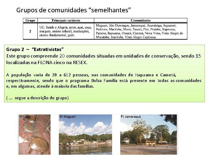 """Grupos de comunidades """"semelhantes"""" Grupo 2 – """"Extrativistas"""" Este grupo compreende 20 comunidades situadas"""