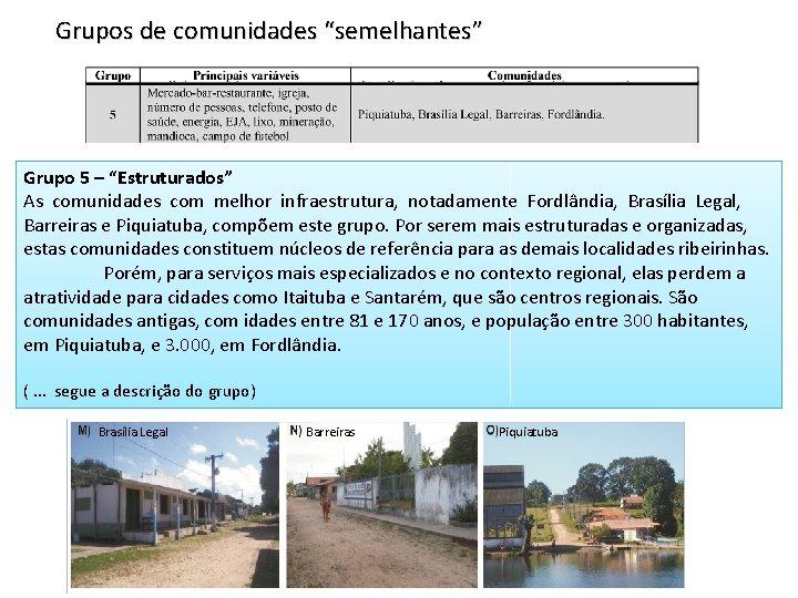 """Grupos de comunidades """"semelhantes"""" Grupo 5 – """"Estruturados"""" As comunidades com melhor infraestrutura, notadamente"""