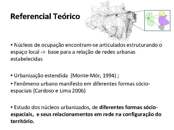 Referencial Teórico • Núcleos de ocupação encontram-se articulados estruturando o espaço local -> base