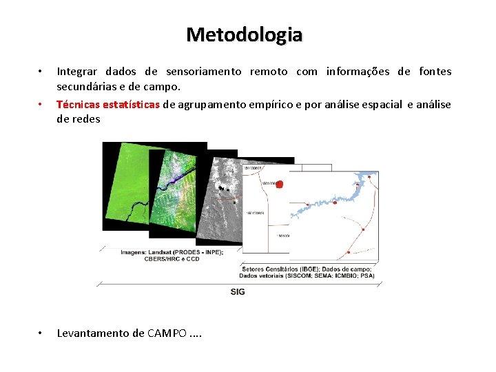 Metodologia • • • Integrar dados de sensoriamento remoto com informações de fontes secundárias