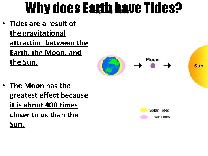 Why does Earth have Tides? • Tides are a result of the gravitational attraction