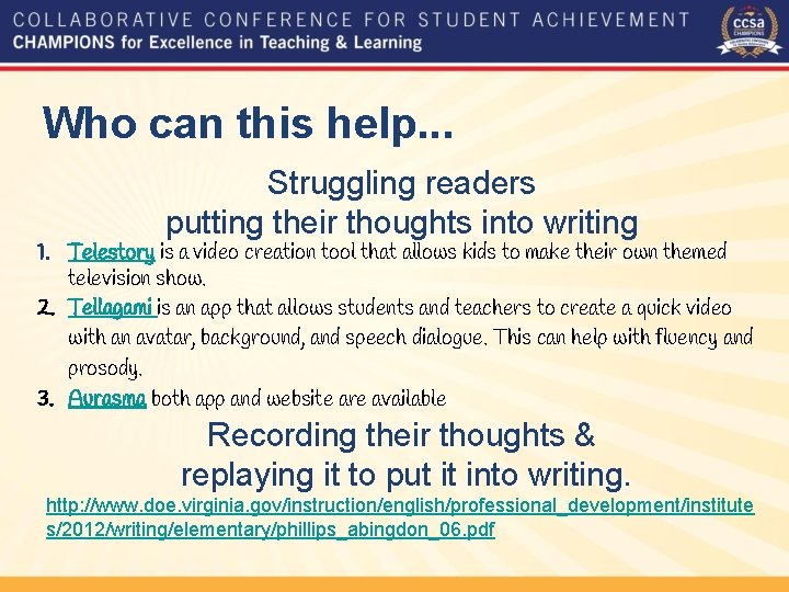 Who can this help. . . Struggling readers putting their thoughts into writing 1.