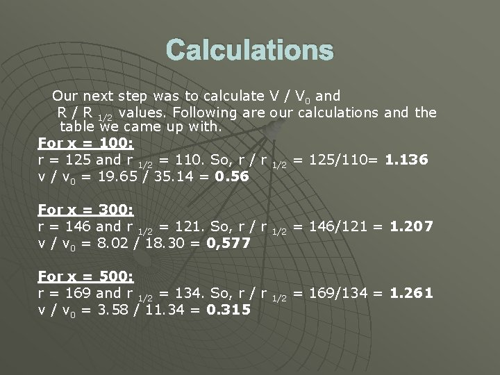 Calculations Our next step was to calculate V / V 0 and R /