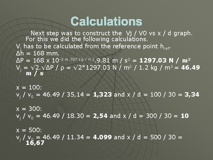 Calculations Next step was to construct the Vj / V 0 vs x /