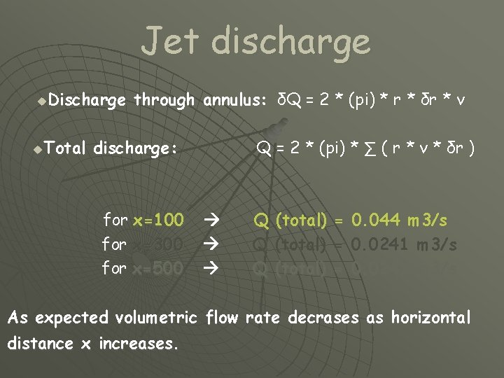 Jet discharge Discharge through annulus: δQ = 2 * (pi) * r * δr