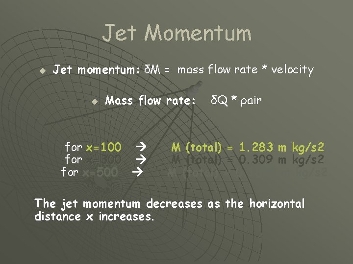 Jet Momentum u Jet momentum: δM = mass flow rate * velocity u Mass