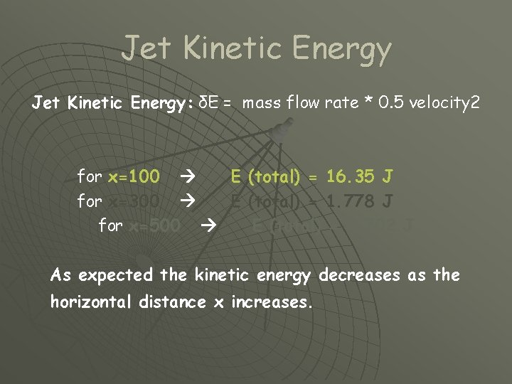 Jet Kinetic Energy: δE = mass flow rate * 0. 5 velocity 2 for