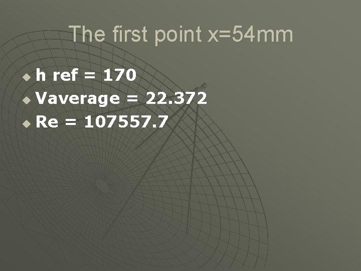 The first point x=54 mm h ref = 170 u Vaverage = 22. 372