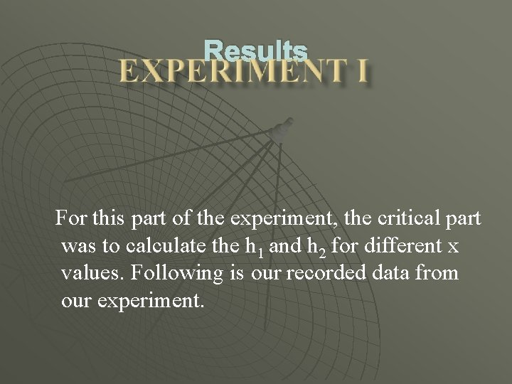 Results For this part of the experiment, the critical part was to calculate the