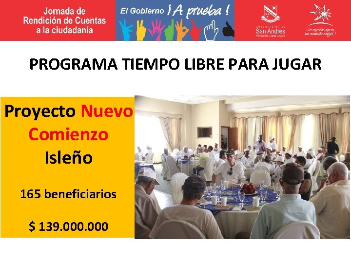 PROGRAMA TIEMPO LIBRE PARA JUGAR Proyecto Nuevo Comienzo Isleño 165 beneficiarios $ 139. 000