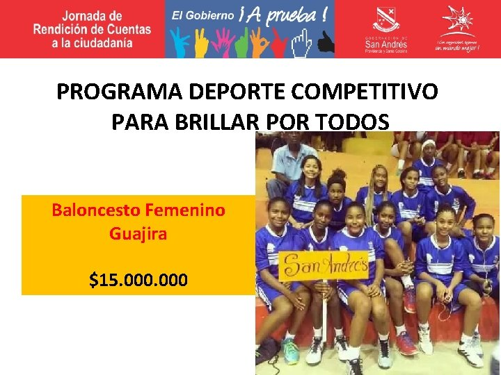 PROGRAMA DEPORTE COMPETITIVO PARA BRILLAR POR TODOS Baloncesto Femenino Guajira $15. 000