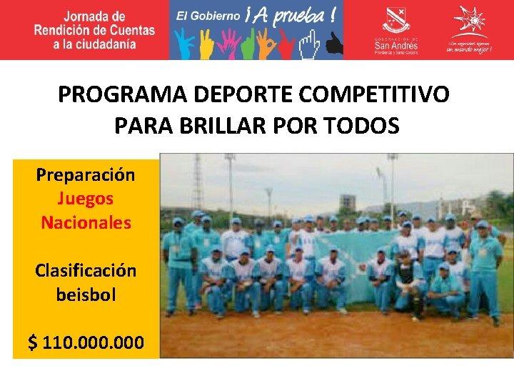 PROGRAMA DEPORTE COMPETITIVO PARA BRILLAR POR TODOS Preparación Juegos Nacionales Clasificación beisbol $ 110.