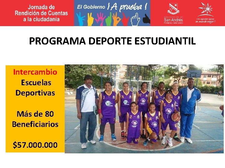 PROGRAMA DEPORTE ESTUDIANTIL Intercambio Escuelas Deportivas Más de 80 Beneficiarios $57. 000