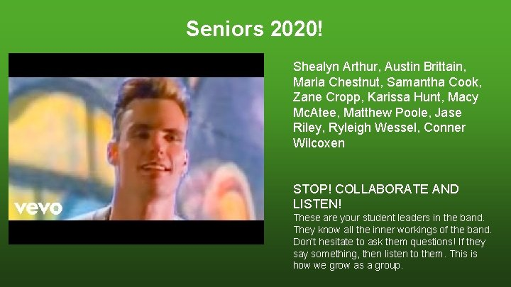 Seniors 2020! Shealyn Arthur, Austin Brittain, Maria Chestnut, Samantha Cook, Zane Cropp, Karissa Hunt,