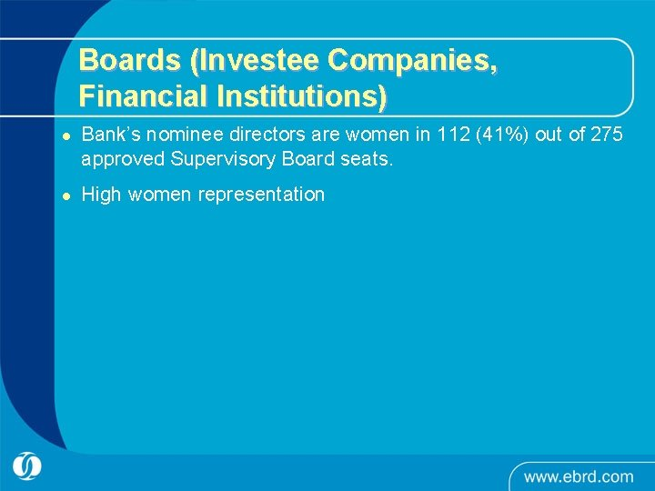 Boards (Investee Companies, Financial Institutions) l l Bank's nominee directors are women in 112