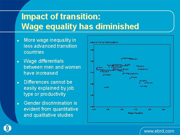 Impact of transition: Wage equality has diminished l l More wage inequality in less