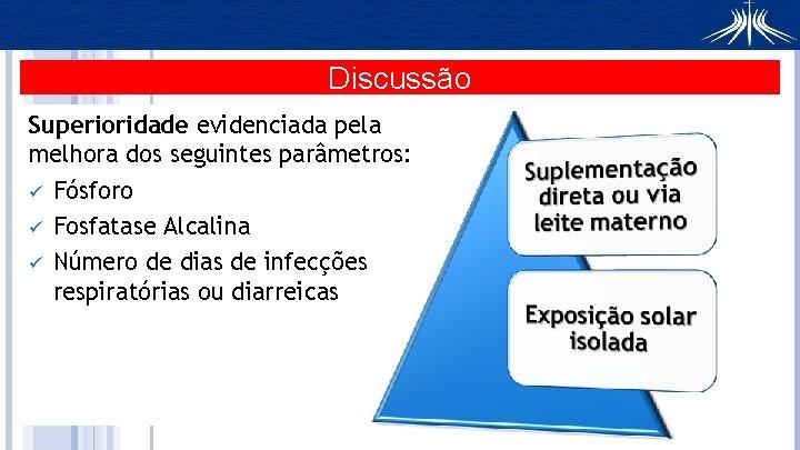Discussão Superioridade evidenciada pela melhora dos seguintes parâmetros: ü Fósforo ü Fosfatase Alcalina ü